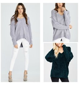 Tops 66 Chenille V-Neck Winter Sweater