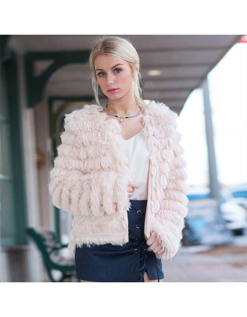 Outerwear Fuzzy Blush Coat