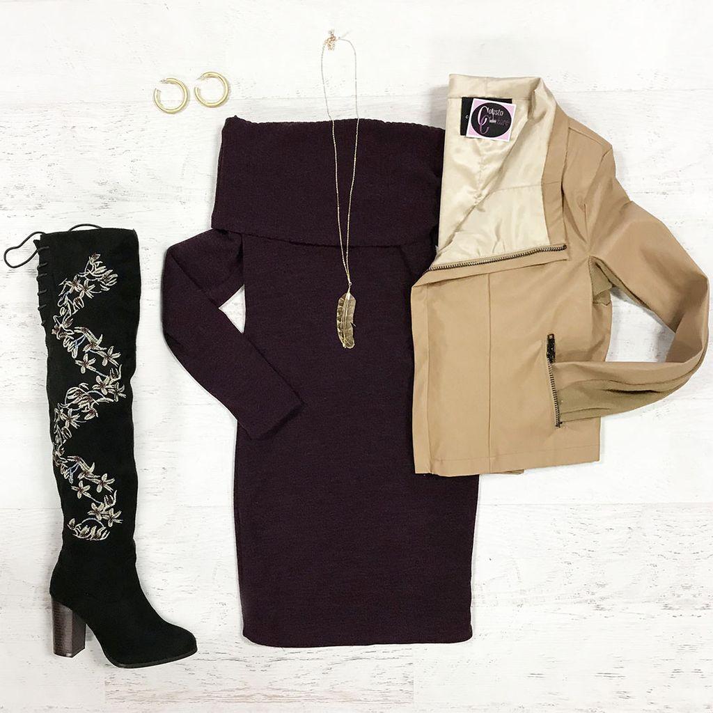 Dresses 22 Sweater Weather Off Shoulder Purple Dress