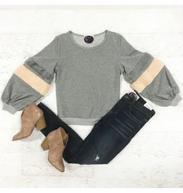 Tops 66 Fuzzy Bands Grey Sweater
