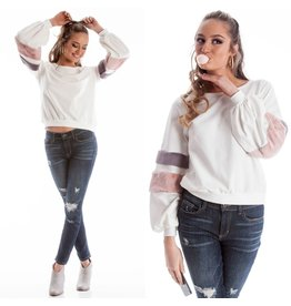 Tops 66 Fuzzy Bands Ivory Sweater