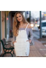 Dresses 22 Distressed White Denim Overall Dress