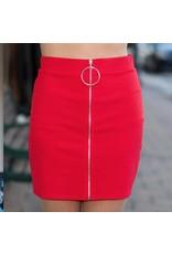 Skirts 62 O Ring Zipper Front Red Skirt