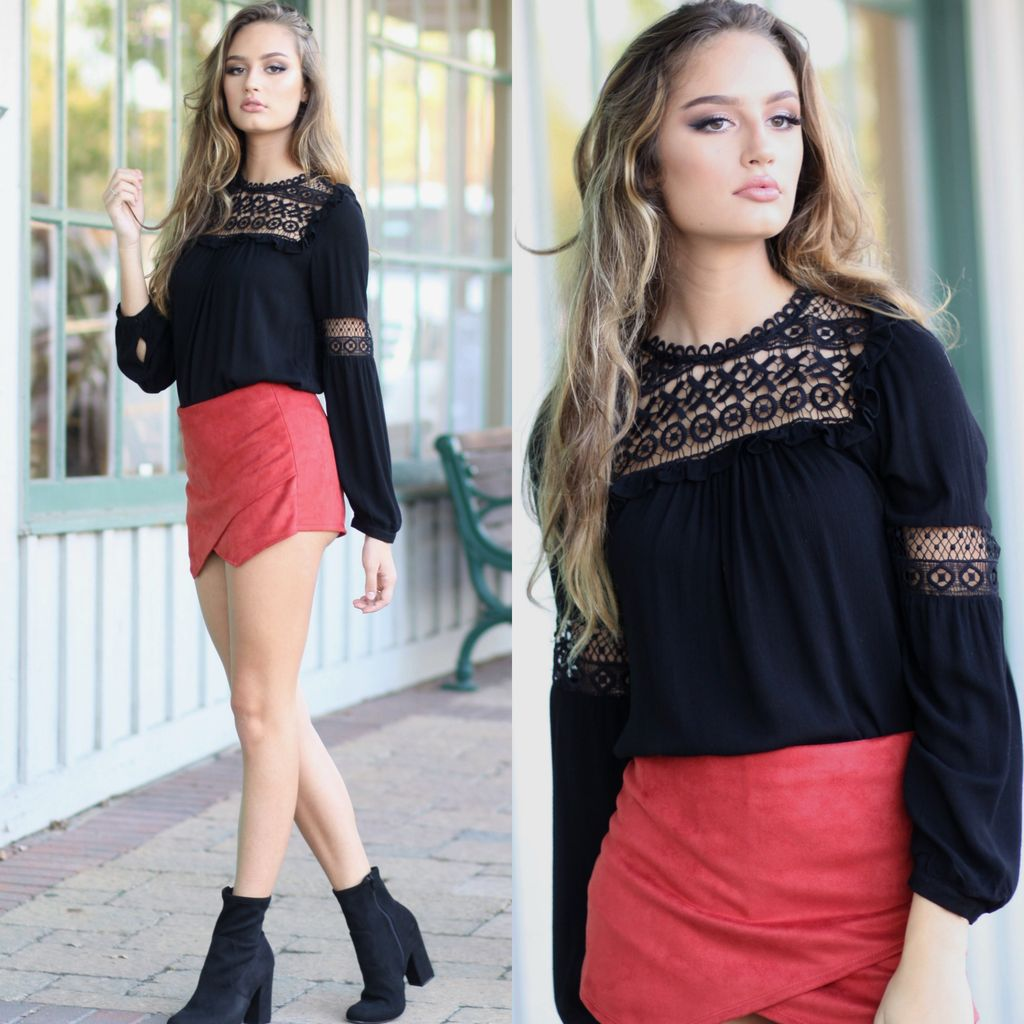 Tops 66 Crochet Crush Black Top