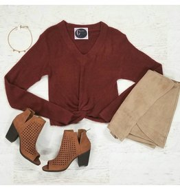 Tops 66 Fuzzy Front Knot Marsala Crop Sweater
