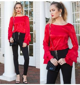 Tops 66 Red Satin Ruffle Top