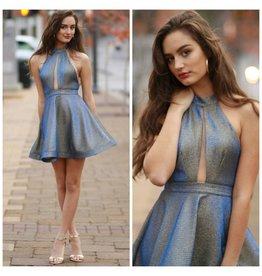 Dresses 22 Shimmering Blue/Gold Holiday Dress