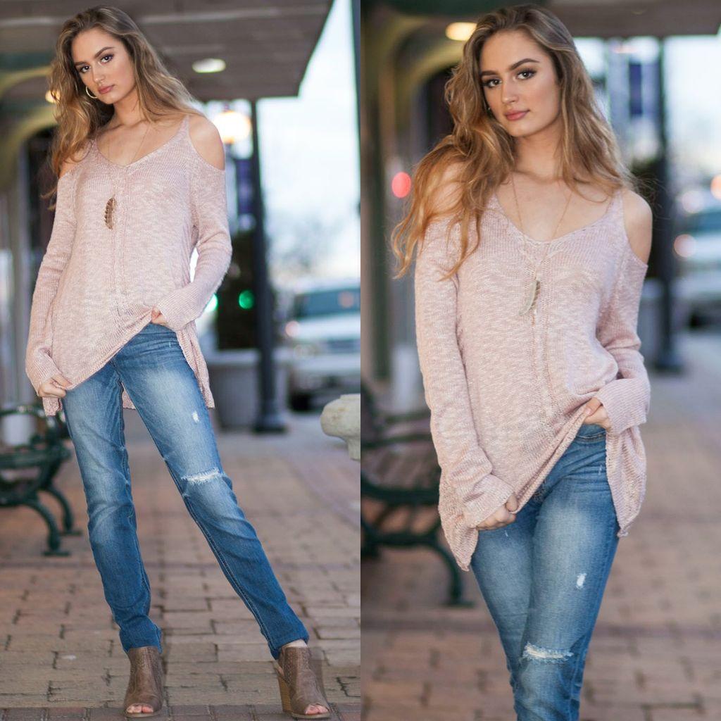 Tops 66 Rosie Posie Cold Shoulder Sweater
