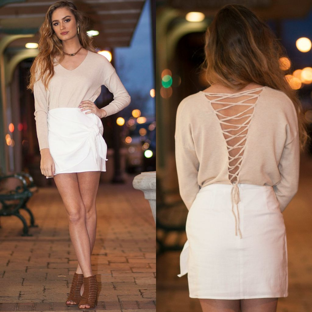 Tops 66 Soft And Neutral Lace Back Sweater