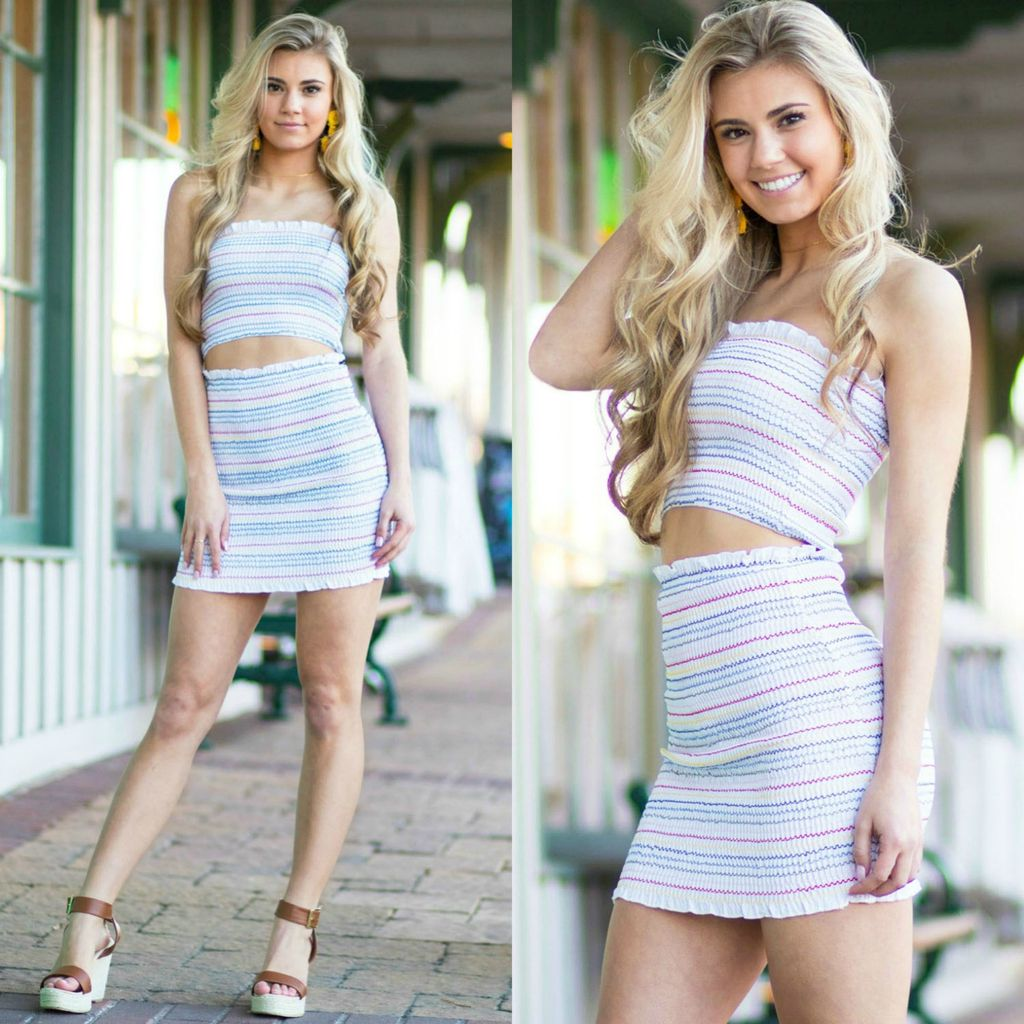 Skirts 62 Colorful Stripes Smocking Skirt