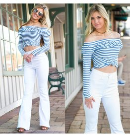 Tops 66 Camille Ruffle Blue Stripe Top