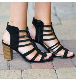 Shoes 54 Taking Strides Black Strappy Heel