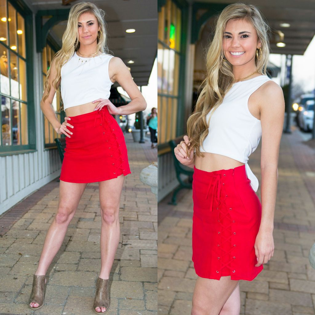 Skirts 62 Lace It Up Red Skirt