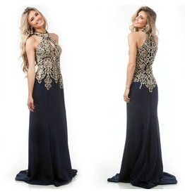 Formalwear Jovani Halter Fitted Lace Navy Formal Dress