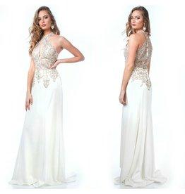 Formalwear Jovani Halter Fitted Lace Formal Dress