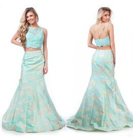 Formalwear Elegant Evening Aqua Two Piece Formal Dress