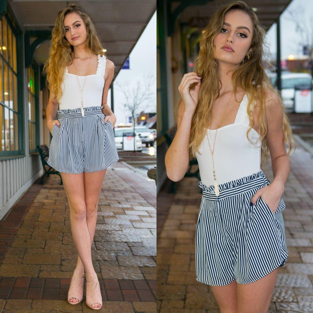 Shorts 58 Navy Stripe Shorts