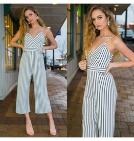 Jumpsuit Party Stripes White Cropped Jumpsuit