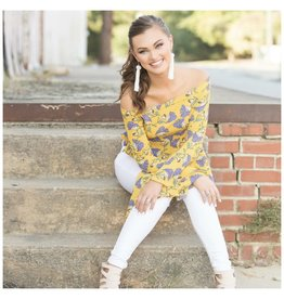 Tops 66 Marigold Floral and Off Shoulder Top