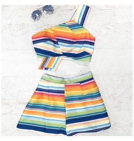 Tops 66 Colorful Stripes Crop Top