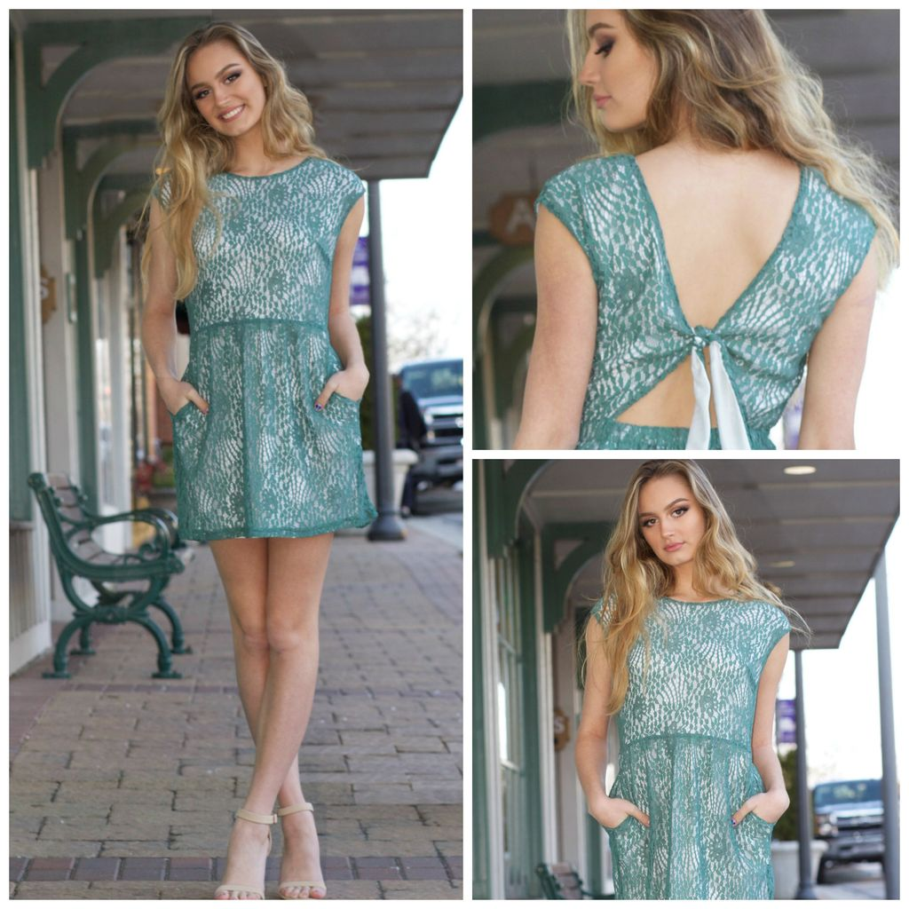 Dresses 22 Spring Green Lace Tie Back Dress