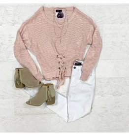 Tops 66 Lace Up Pink Sweater