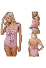 Swimsuits Poolside Ruffle Orchid One Piece