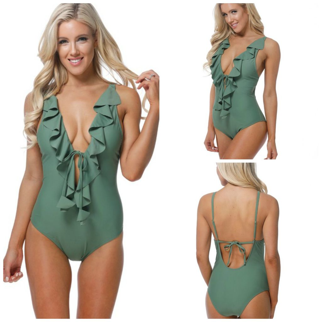 Swimsuits Poolside Ruffle Olive One Piece