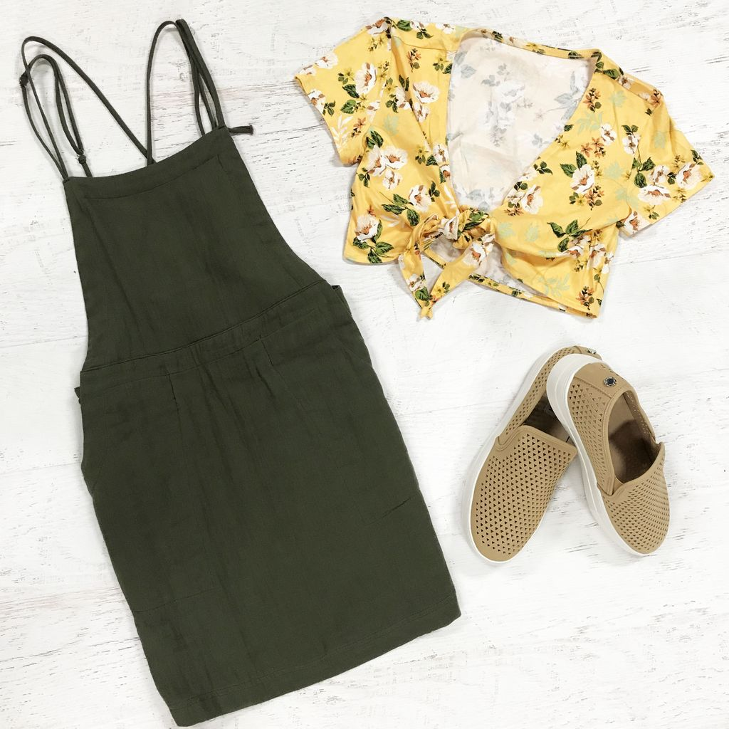 Dresses 22 Cotton Crush Olive Overall Dress
