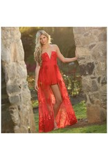 Jumpsuit Flower Power Red Maxi Romper