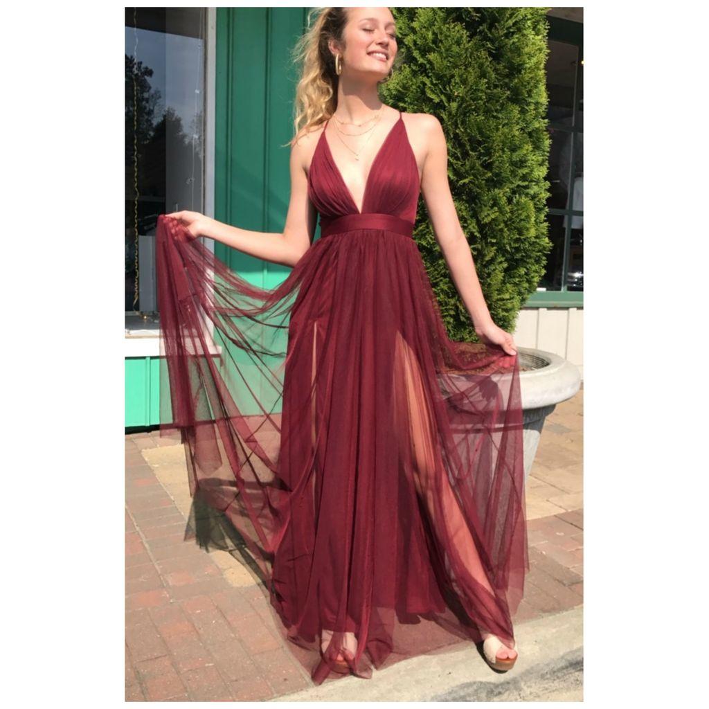 Dresses 22 Swept Away Burgundy Tulle Dress
