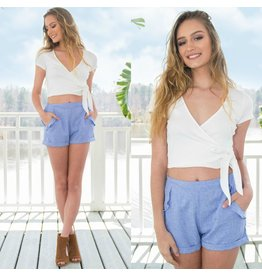 Shorts 58 Blue Ruffle Shorts