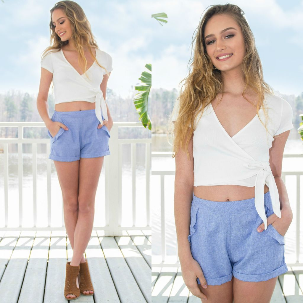 Shorts 58 Blue Ruffle Shorts
