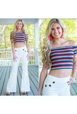 Tops 66 Color & Fun Stripes Crop Top