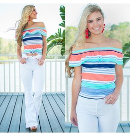 Tops 66 Candy Stripe Off Shoulder Ruffle Top