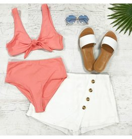 Swimsuits Knotted Front Coral Bikini Top