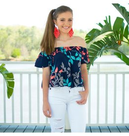 Tops 66 Summer Love Floral Navy Top
