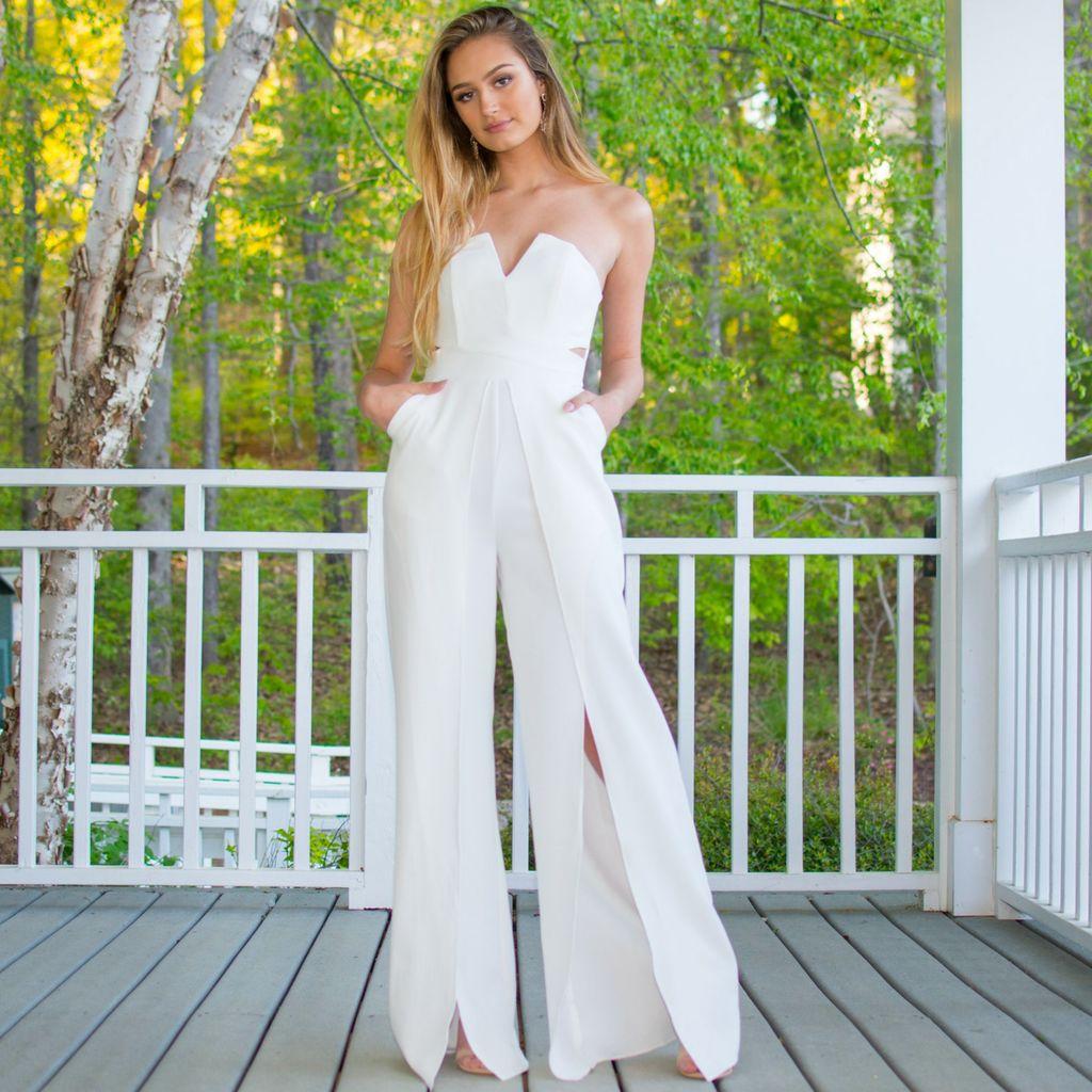 Jumpsuit Glam Occasion White Jumpsuit