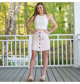 Skirts 62 Pink Stripe Button Skirt