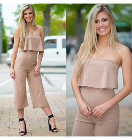 Jumpsuit Take it To the Top Taupe Jumpsuit
