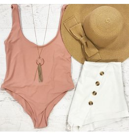 Swimsuits Scoop Back Blush Nude Swimsuit