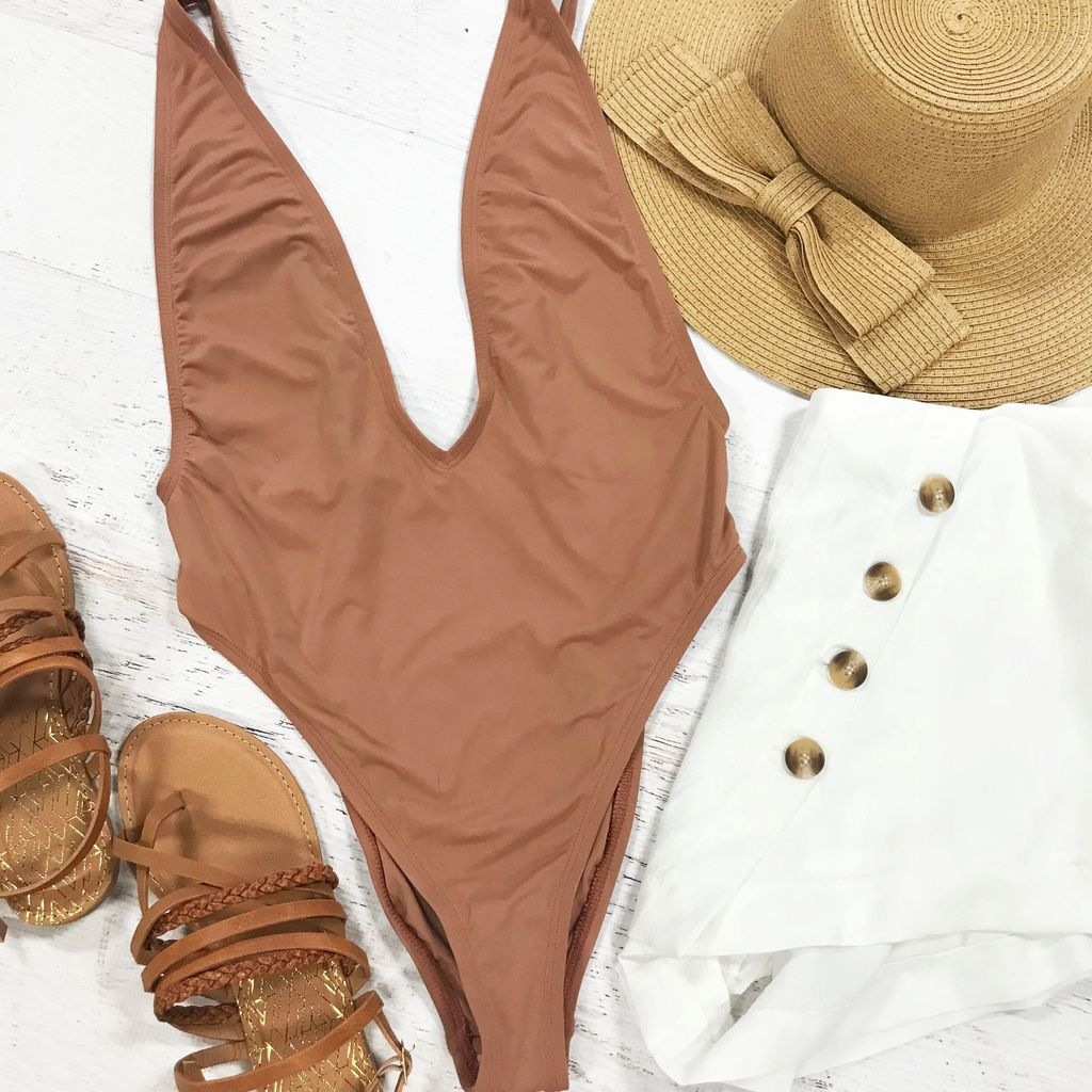 Swimsuits Coppertone Deep V One Piece