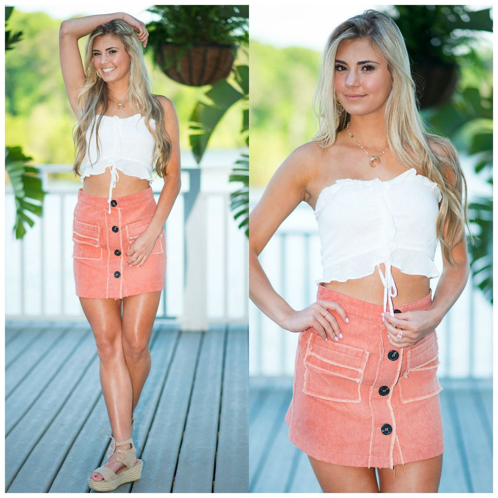 Skirts 62 Button Up & Frayed Sunset Coral Skirt