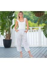 Pants 46 Lola Stripe Cropped Midi Grey Pants