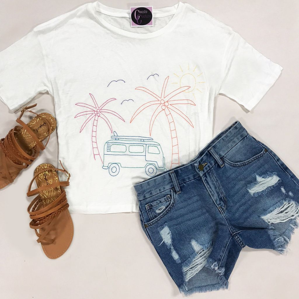 Tops 66 Summer Road Trip Embroidered Tee