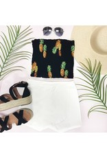 Tops 66 Party Like A Pineapple Black Smocked Top