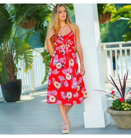 Dresses 22 Tropic Like It's Hot Red Tie Front Dress