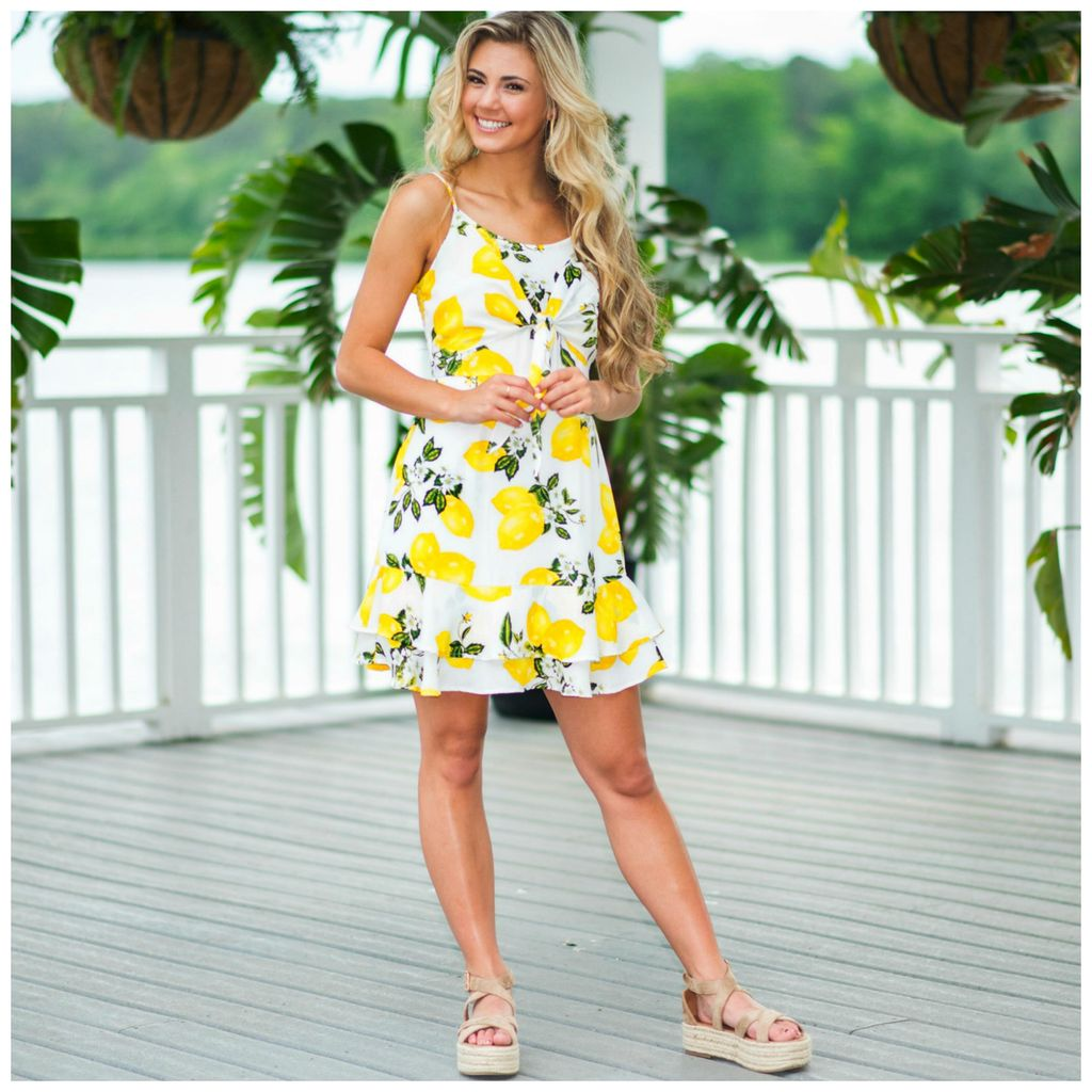 Dresses 22 Lemon Squeeze Front Tie Dress