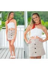 Tops 66 Button Up & Frayed Khaki Skirt