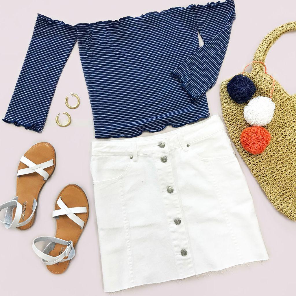 Skirts 62 Button Front White Denim Skirt